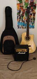 Jim Deacon Semi Acoustic Bass Guitar + Amp + Case