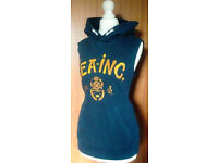 "Ladies Navy Blue Sleeveless Hoodie Hoody with Yellow ""Sea Inc"" Text.Size 14."