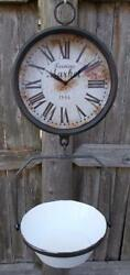 Farmers Market Clock with Hanging Fruit Basket Vintage Scale Design Farmhouse