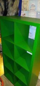 IKEA Kallax 8 Hole Storage System With Baskets Green