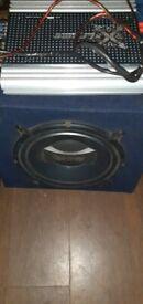 Infinity sub bass box and 4 channel 600watt amp