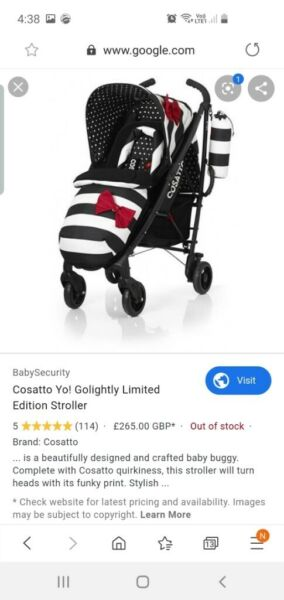Cosatto yo baby stroller limited edition. Pram for sale  Tandragee, Northern Ireland