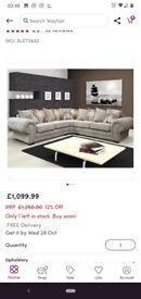 L-Shape Chesterfield Alcrossagh Corner Sofa Light Grey