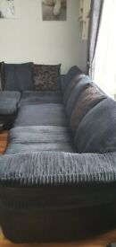 DFS corner sofa and recliner chair in black