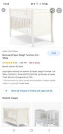 mama and papas sleigh furniture cot for sale
