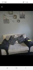 3 & 2 Black & Grey fabric sofa's for sale.