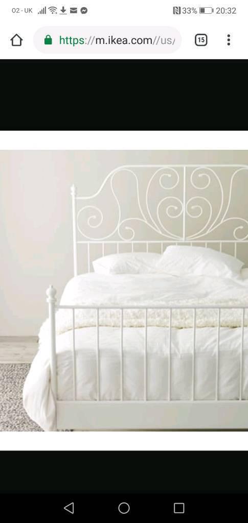 Ikea White Metal Frame Double Princess Style Bed Frame