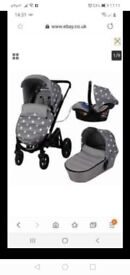 My babiie pram billie fairies carry cot carset and big bit