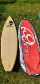 6 foot 7 inch Town & Country surfboard and bag