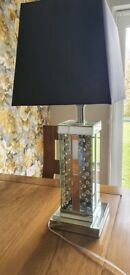 LARGE HEAVY MIRRORED CRYSTAL TABLE LAMP