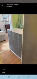 Grey wardrobe & chest of drawers like new