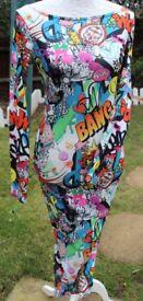 Pop Art body con dress UK S/M