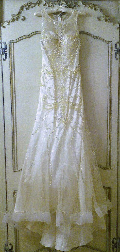 Gino Cerruti Wedding Dress Designer Ivory Pearl Diamante Bead Sequin Satin Art Deco Style Prom Dress In Canterbury Kent Gumtree