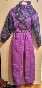 Vintage SKI SUIT One-piece Ladies M  PURPLE Funky Print RARE  OakvilleSnow Retro SEE MY LISTINGS FOR OTHERS & MENS TOO
