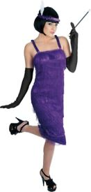 PURPLE 20s GREAT GATSBY FLAPPER FANCY DRESS OUTFIT ALSO HAVE WIG FOR SALE