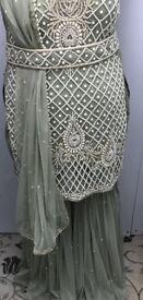 Gharara, sharara suit green and gold. Wedding, Eid, Party.