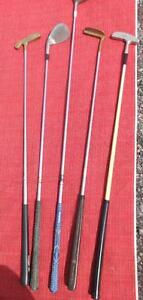 5 VINTAGE GOLF CLUBS - GREAT FOR RETRO DECOR - EXCELLENT CONDITION