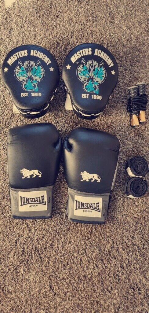 Boxing Set (14oz Gloves, Wraps, Skipping rope and training Pads) | in  Plymouth, Devon | Gumtree