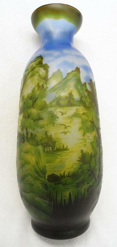 """Finely Detailed Layered Blue Green Cameo Glass Vase Scenic Forest Mountain 13"""""""