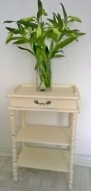 Shabby chic tall table with shelf and drawer in antique white