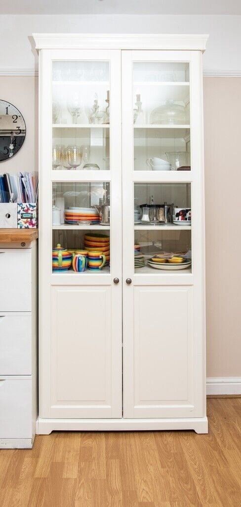 Ikea Liatorp Bookcase With Glass Doors White 96 X 214 Cm