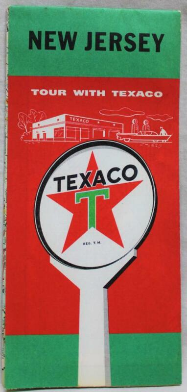 TEXACO SERVICE STATION NEW JERSEY HIGHWAY ROAD MAP 1956 VINTAGE TRAVEL