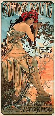 Carriage Dealers 1902 Alphonse Mucha Reproduction Art Nouveau Poster Print NEW