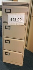 4 Drawer H132cm x W47cm x D62 Grey Metal Lockable (with keys) Professional Filing Cabinet
