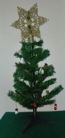Wee Christmas Tree + Wooden Decorations + Tree Topper Star