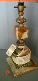 vintage heavy onyx and brass lamp