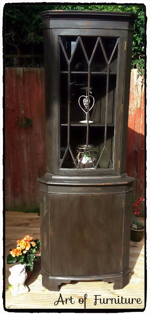 Corner Unit hand painted in Annie Sloan Graphite chalk paint.