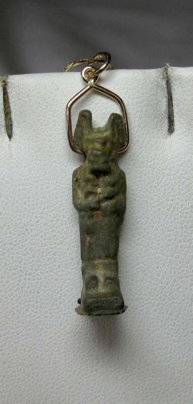 Authentic Ancient Egyptian Anubis Amulet Pendant Faience 14K Gold 500 BC