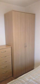 Oak Veneer Double Wardrobe in Excellent Used Condition