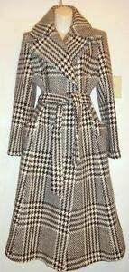 ZARA Long Wool Spring Coat - Womens Slim L Tall - Size 10 12 Chocolate brown and cream plaid - Made in Spain MINT