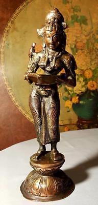 Antique Hindu Indian Bronze Goddess Statue  Meenakshi Parvati  With Parrot Large