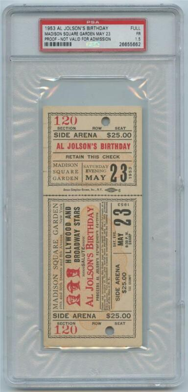 1953 Al Jolson Birthday Ticket PROOF Madison Square Garden PSA Population ONE
