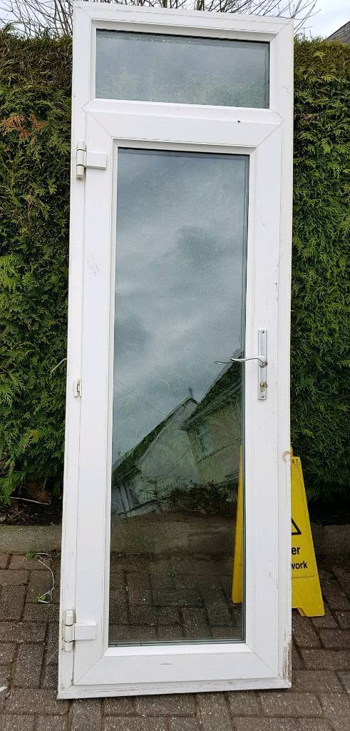 Upvc Double Glazed Full Glass Back Door White With Frame In