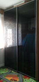 IKEA PAX LARGE TALL WARDROBE BLACK BROWN 150cmx236x58cm with ARDAL BLACK sliding doors ,