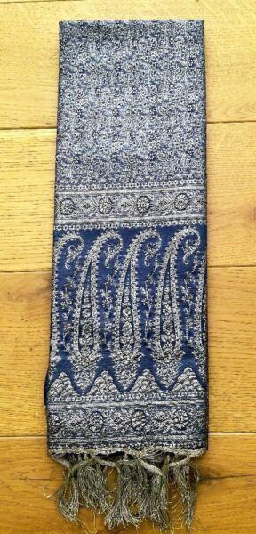 NEW Indian Blue Silver Gold Silk Metallic Thread Tassel Wall Hanging Curtain Fabric Throw Runner  for sale  Canterbury, Kent