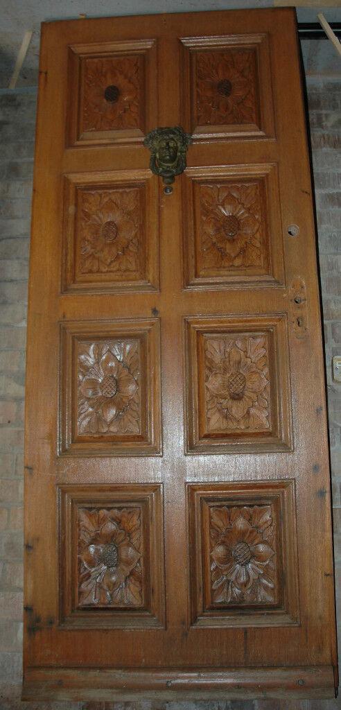 buy popular a229c 9054b Solid teak front door with carved panels   in Swaffham, Norfolk   Gumtree