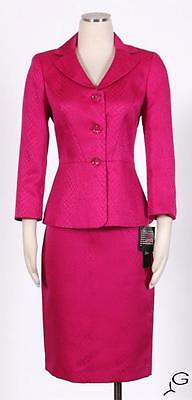 Le Suit Orchid Pink Skirt Suit Size 12P Polyester Textured Women's New*