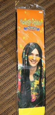 Flower Power  *LONG HAIR HIPPIE WIG W/ BEADS*    Cheech/Chong  Halloween Costume - Chong Halloween Costume