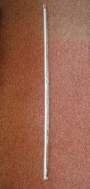 "White 12mm Twist and Fit Tension Rod Extendable Pole For Net Curtains 134cm - 231cm approx 52.5""-91"""