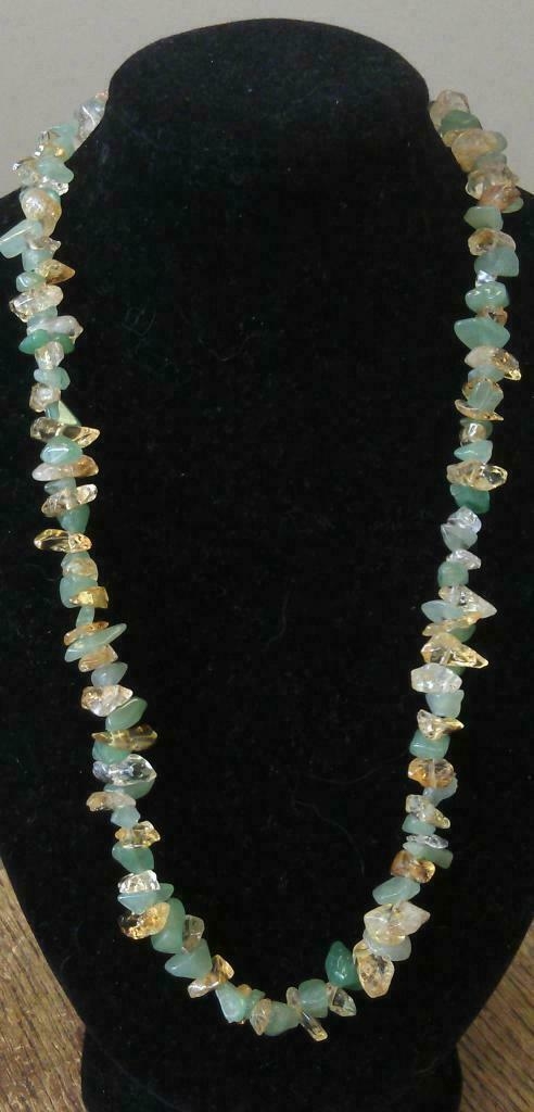 "Aventurine and Citrine Necklace 16"" to 34"". Healing and Beautiful, Luck & Money"