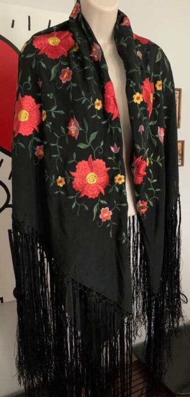 """Vintage Embroidered Silk 50"""" Piano Shawl 20"""" Fringed"""