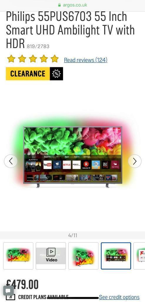 Philips 55 Inch Smart 4K Ambilight TV | in Enfield, London | Gumtree