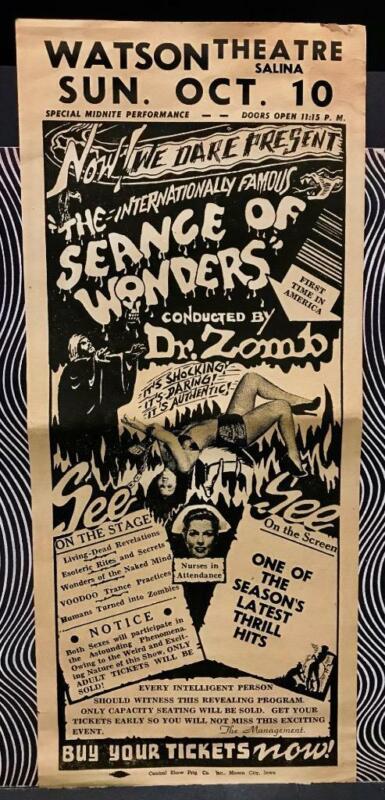 Sceance of Wonders Dr. Zomb Spook Show Voodoo Zombies Nurses in Attendance Rare