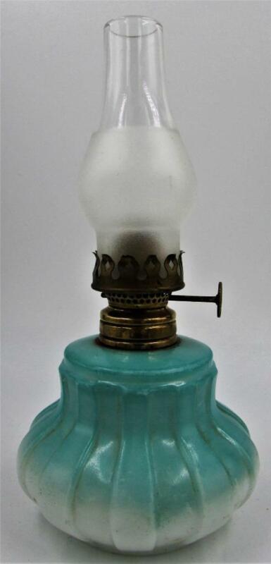 Antique Miniature Oil Kerosene Vase Lamp Vertical Columns w/ Burner Wick Chimney
