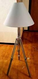Made 'Navy' Tripod Floor Lamp/Light - Wood & Chrome - Adjustable Height