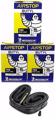 (3) Three Michelin Airstop Butyl Road Bike Tubes 700x18-23-25 40mm Presta 700c